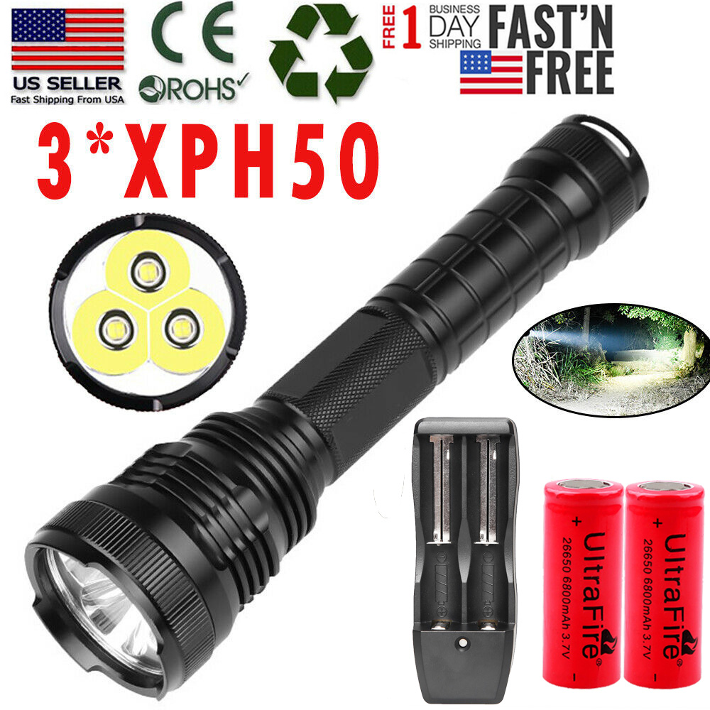 990000Lumens Zoomable XHP50 LED Rechargeable 18650 Flashlight Super Bright Torch