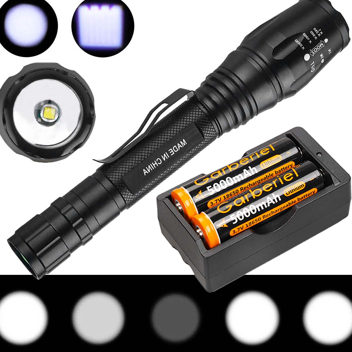 2* Tactical Ultrafire Flashlight T6 High Power 5 Modes Zoom Focus 18650 Battery