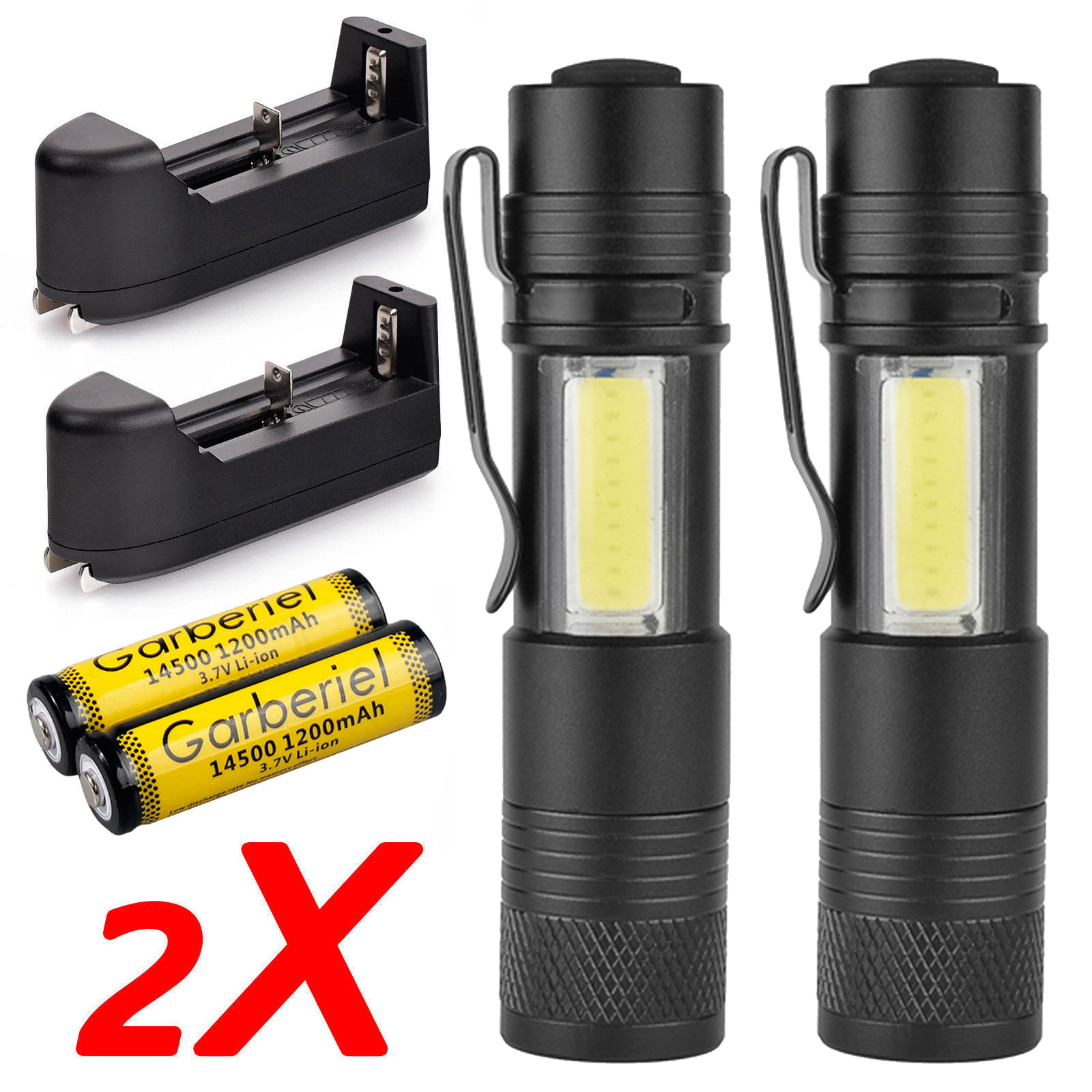 Battery Charger 2 Sets 50000LM Zoomable Tactical LED Flashlight Torch Light