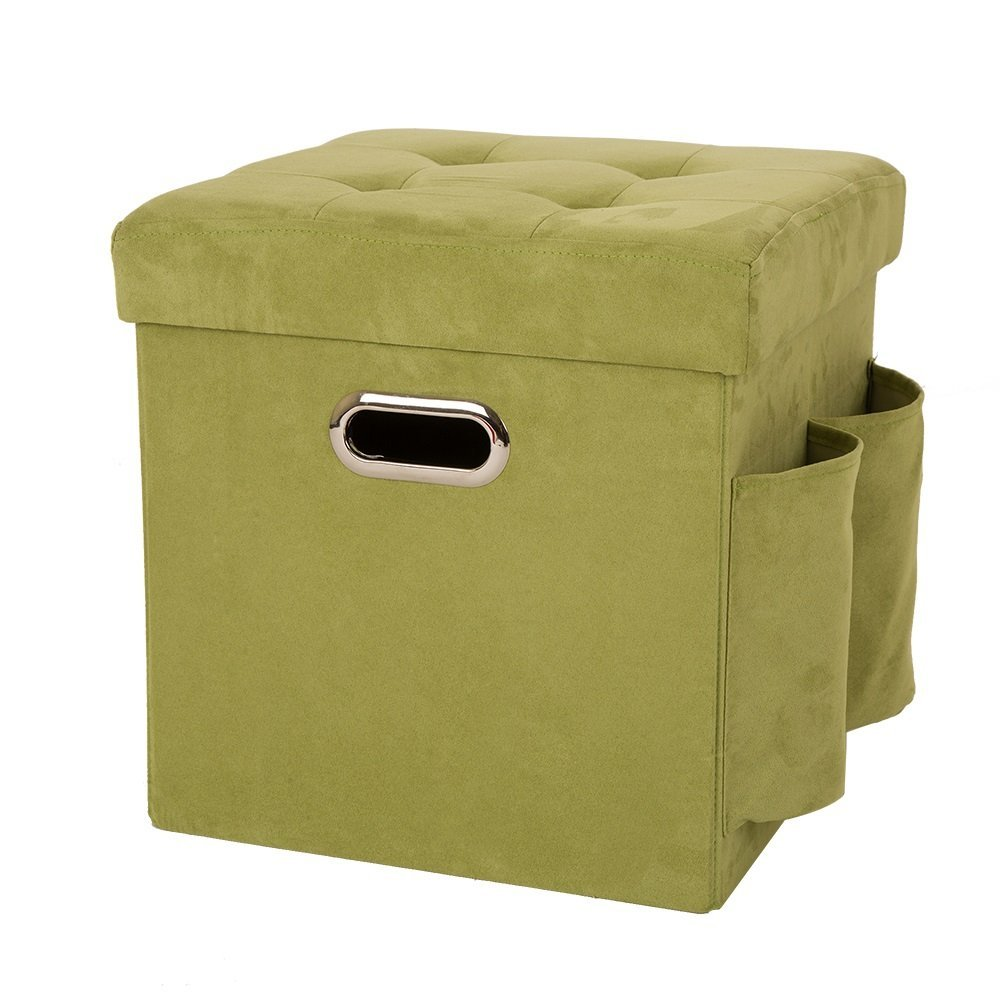 Marvelous Details About Glitzhome Square Cube Faux Suede Foldable Storage Ottoman 2 Pockets Padded Seat Pabps2019 Chair Design Images Pabps2019Com