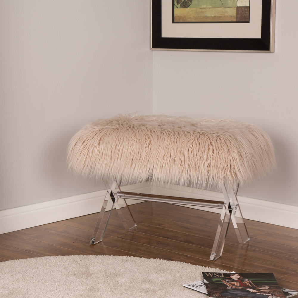 Details about Glitzhome Modern Natural Faux Fur Bench with Acrylic X-Legs  Bedroom Foot Stool