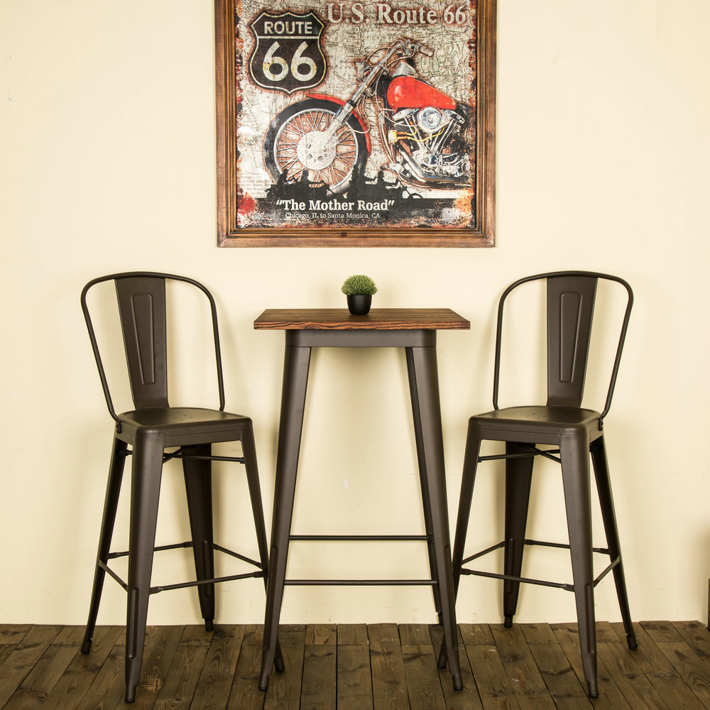 Details About Glitzhome Rustic Metal Wood Top Dining Table Counter Bar Stool Side Chairs Set