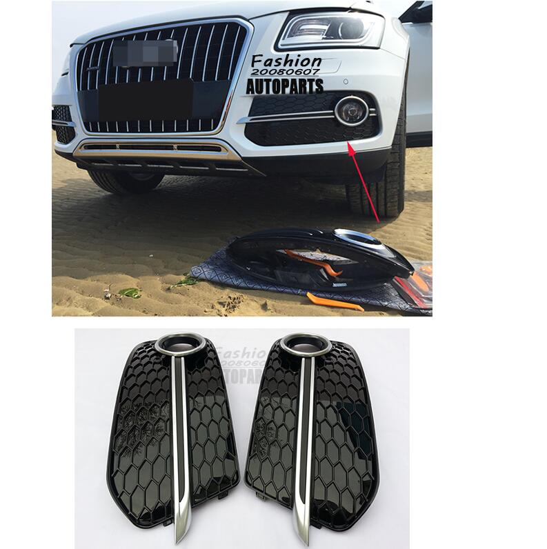 Front Fog Light Lamp Honeycomb Covers Fit for Audi Q5 Non-Sline Non-SQ5 13-16