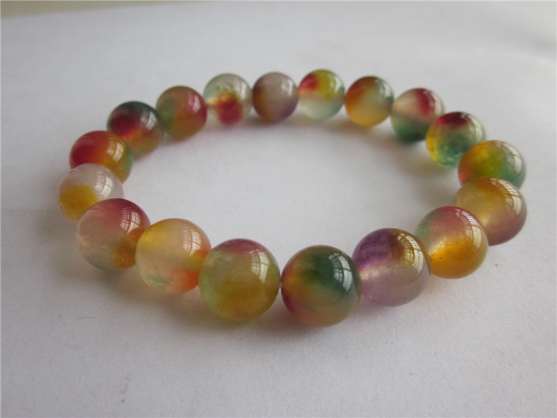 Chinese Exquisite Natural agate colour jade Handmade beads Bracelet