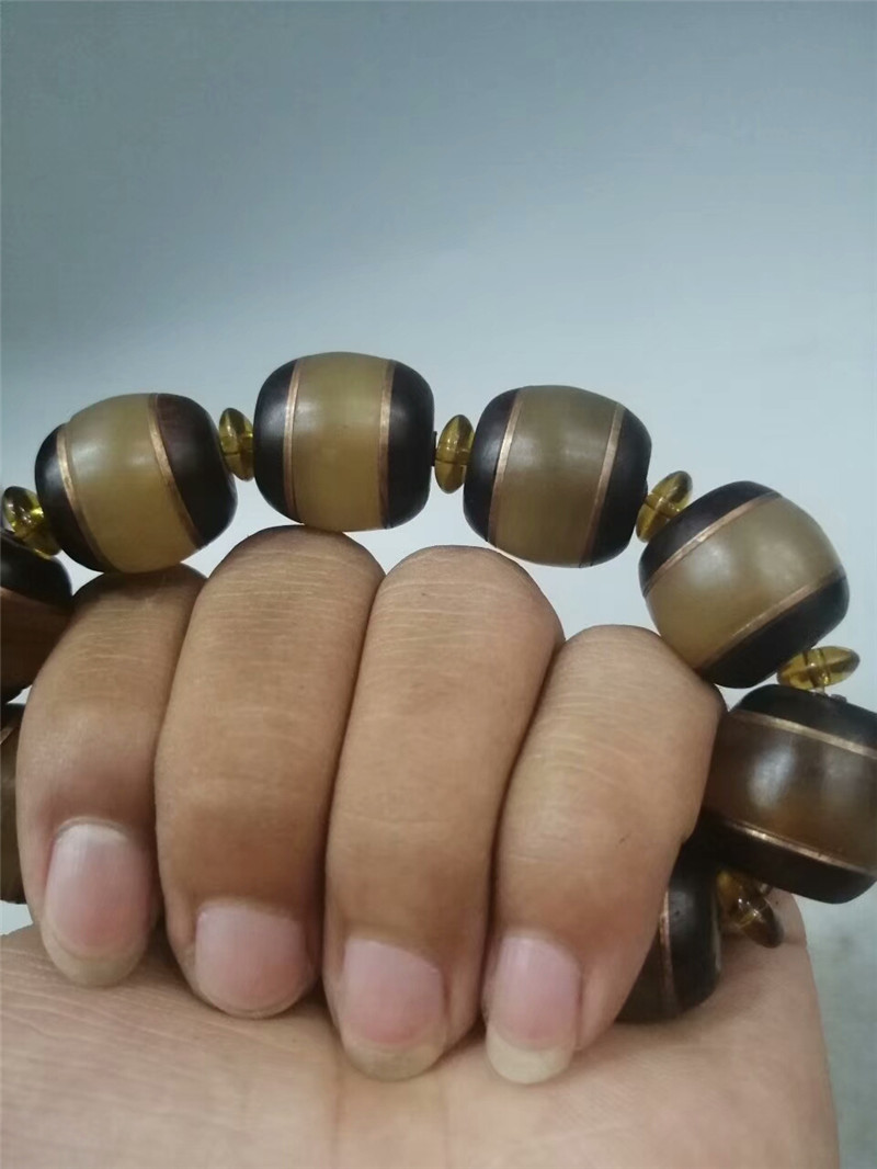 "0.71/"" Collection Chinese Exquisite Ox horn Hand-made Ox horn bead Bracelet"