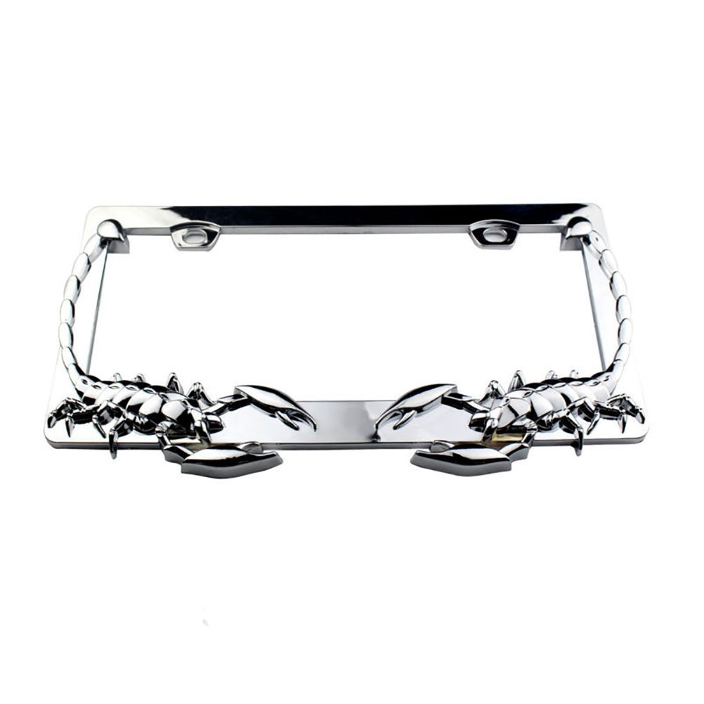 2PCS CHROME DRAGON STYLE LICENSE PLATE FRAME COVER For Front /& Rear Car Trunk