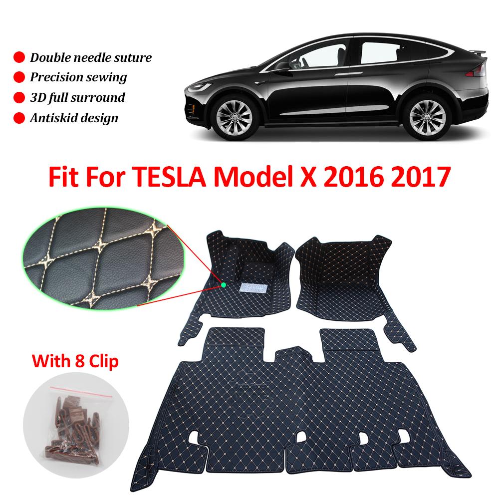 For 2016 2017 2018 Tesla Model X 5 Seater Floor Liner Mat Weatherbeater Leather