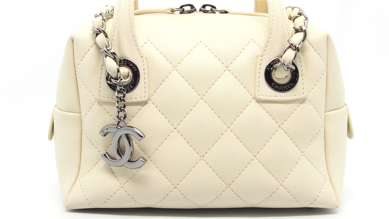 4a874c033c62 Authentic CHANEL Beige Quilted Calfskin Leather Featherweight Small Bowling  Bag