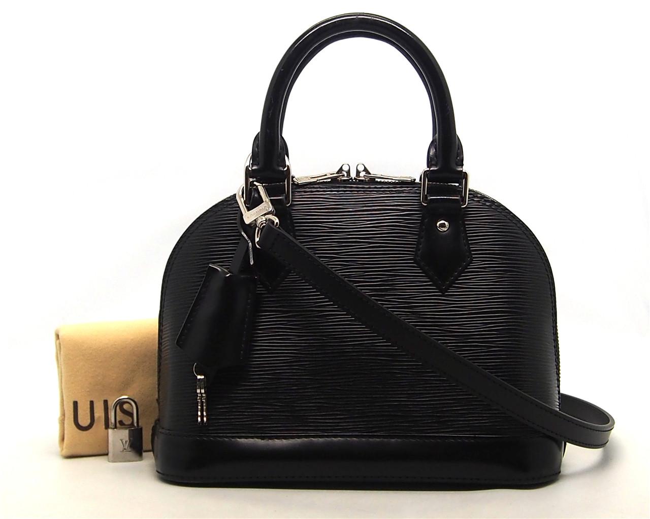 bd4d99aac888 Authentic Louis Vuitton Black Epi Leather Alma Bb M40862 Shoulder