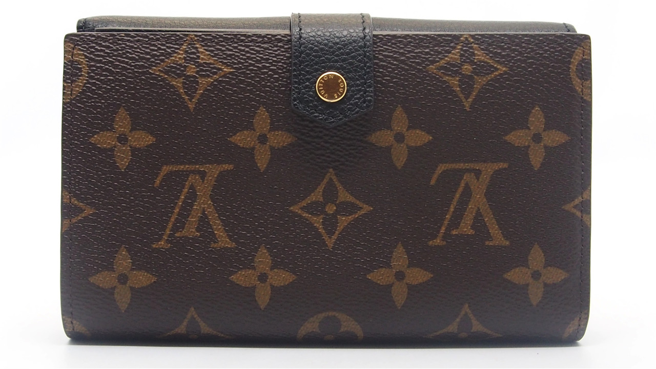 new arrival a6a16 6c9cb Details about Authentic LOUIS VUITTON Black Monogram Canvas Pallas Compact  Wallet M60990