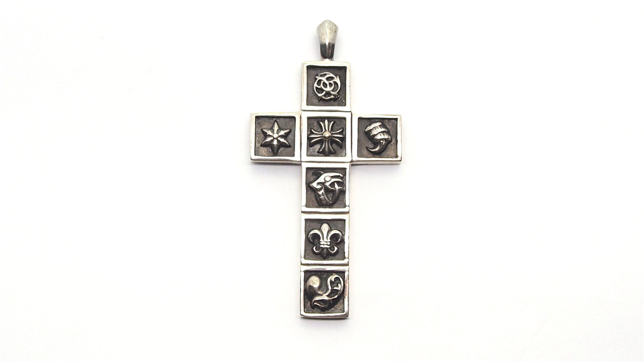 89d9bd939702 Authentic CHROME HEARTS 925 Silver Framed Charm Cross Pendant 17036606CK