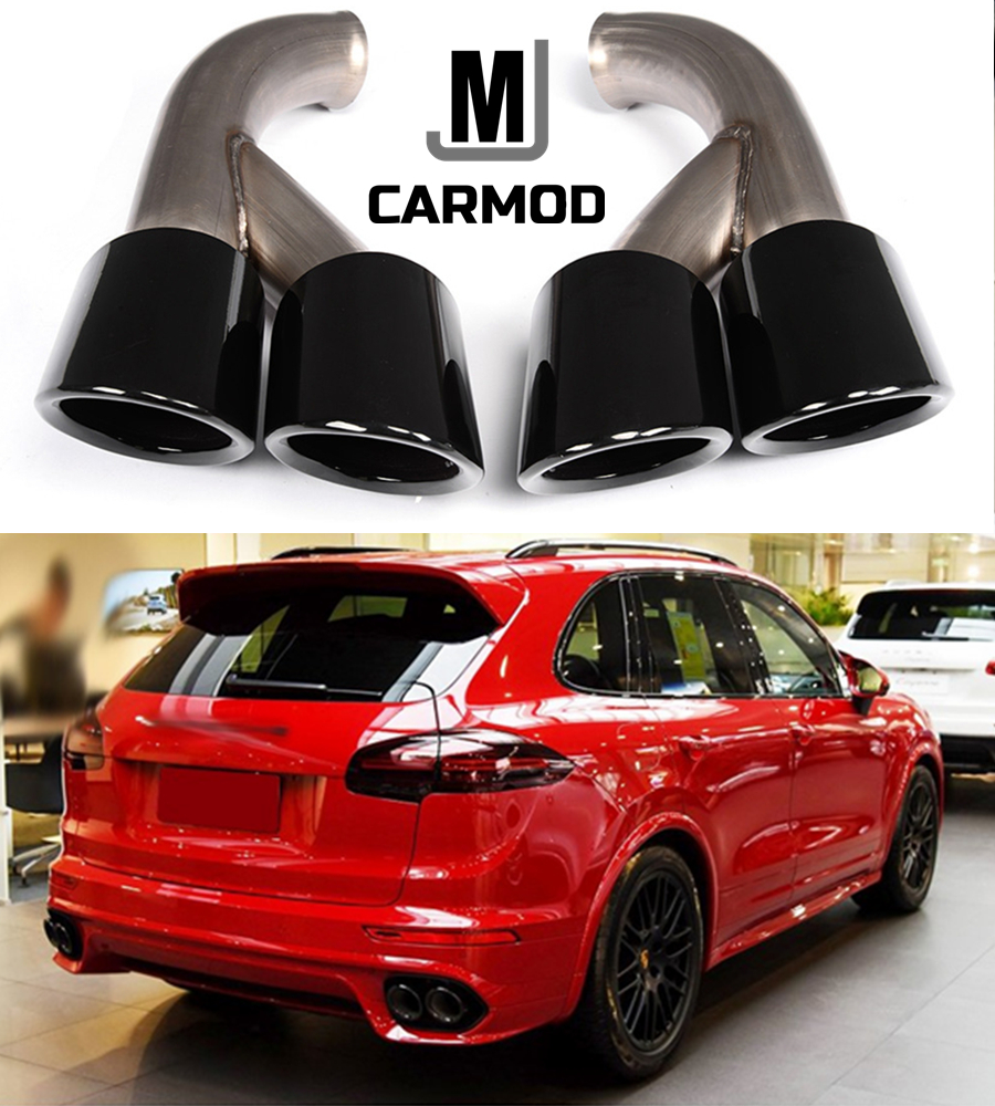 Black Porsche Cayenne: Gloss Black GTS Style Exhaust Tips Muffler Pipe Fit For