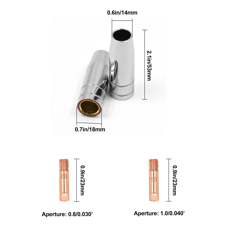 MB15 Tips Consumables Mig Welding Gun Accessory Kit Contact Tip Nozzles Diffuser