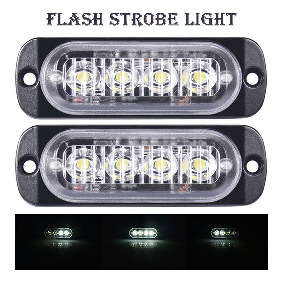 12V-24V Blue 4 LEDs Car Truck Beacon Warning Hazard Flashing Strobe Light Lamps