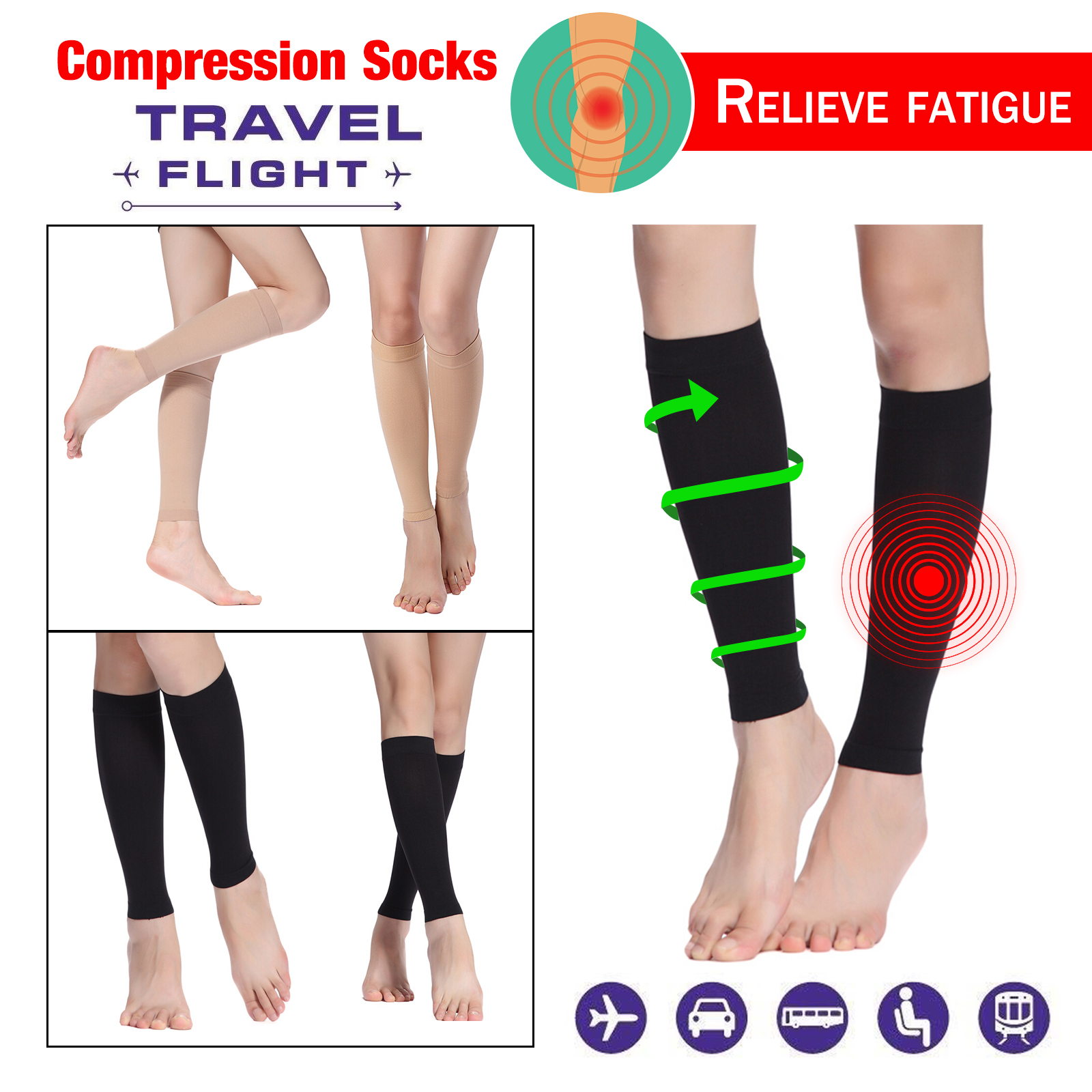 online here limited guantity brand new Details about Knee High Calf Compression Sleeve Socks Women men Running  Nurses Flying Travel
