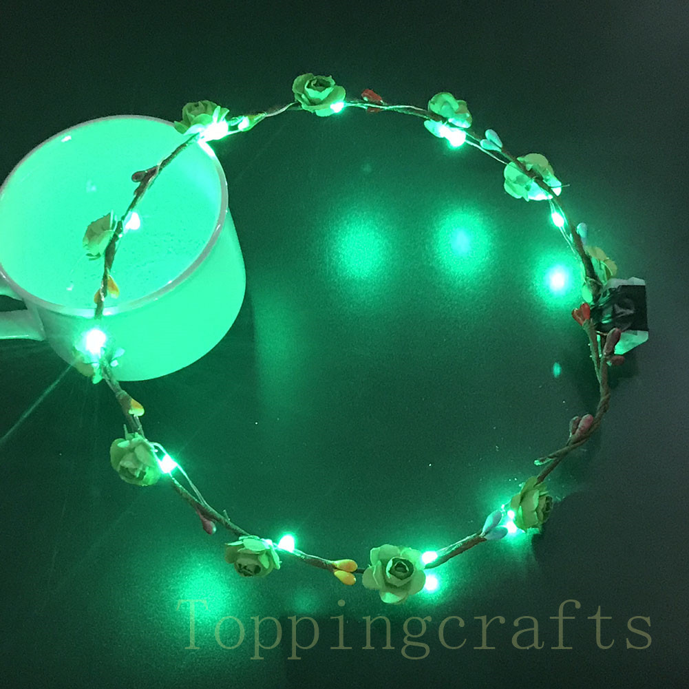 Women-Girls-Wedding-Xmas-Party-LED-Light-Up-Flower-Headband-Garlands-Hair-Band