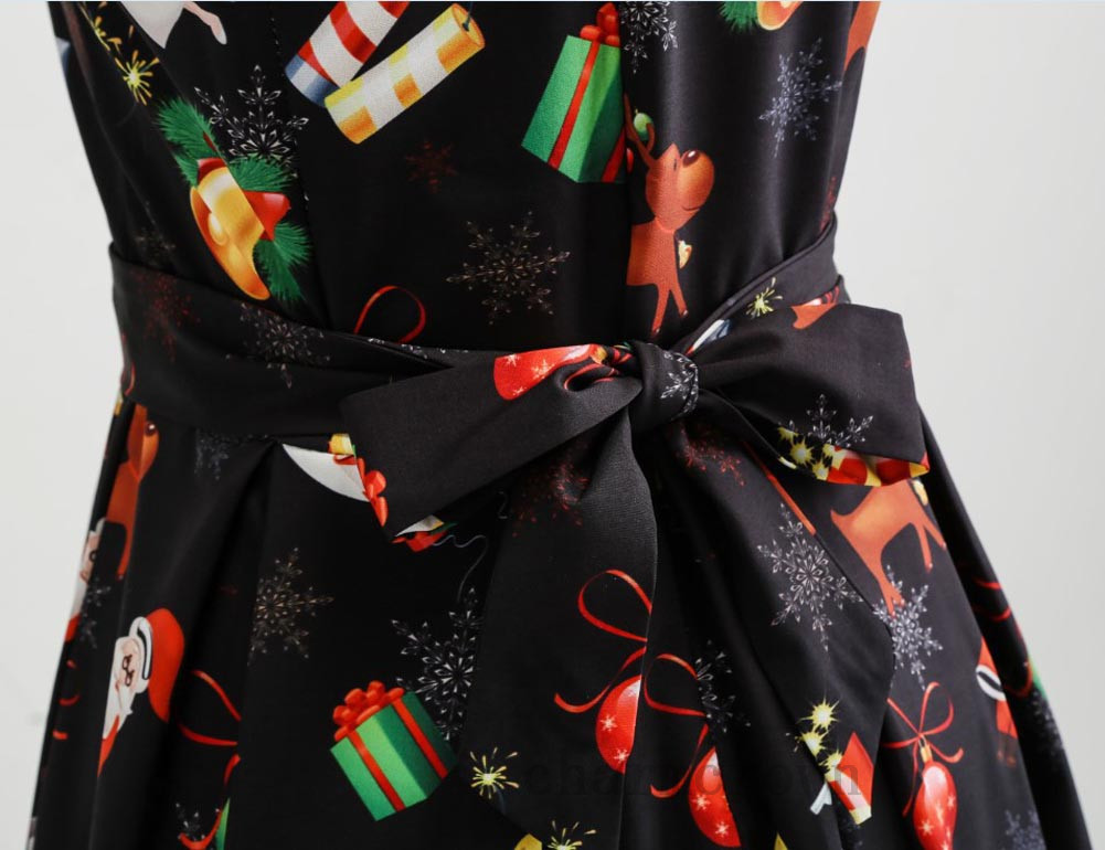 Damen-XMAS-Skater-Kleid-Christmas-Abendkleid-Ballkleider-Party-Weihnachtskleid-D