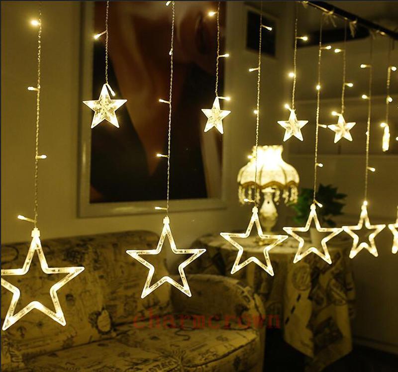 12 Funkeln Stern 48LED Lichterkette Hochzeit Fenster Deko Weihnachts ...