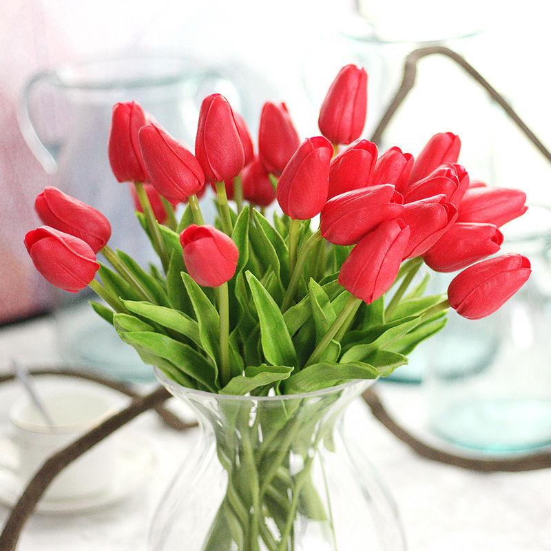 10 st ck k nstliche latex tulpen blumen kunstblumen kunstpflanze wedding bouquet ebay. Black Bedroom Furniture Sets. Home Design Ideas