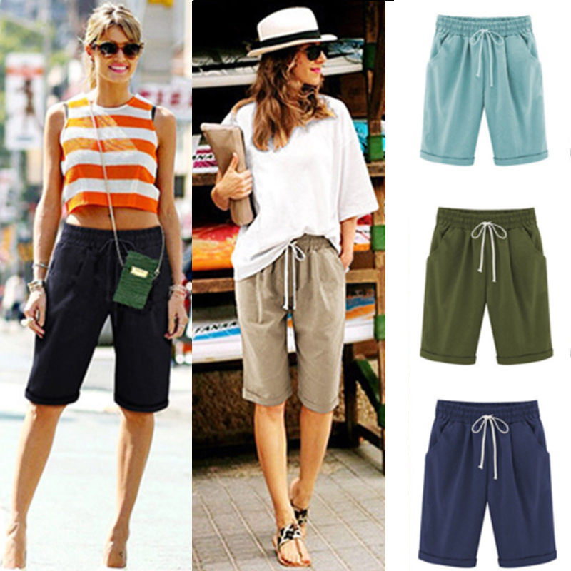 Details about Women Cargo Shorts Combat Chino Ladies Knee Length Summer Holiday Pants