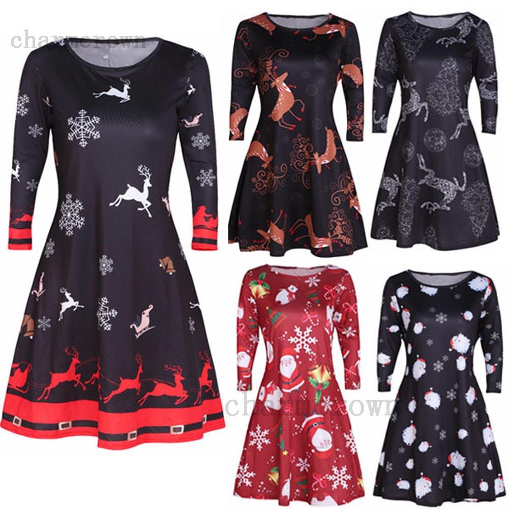 DE Damen XMAS Kleider Party Weihnachtskleid Santa Mode ...
