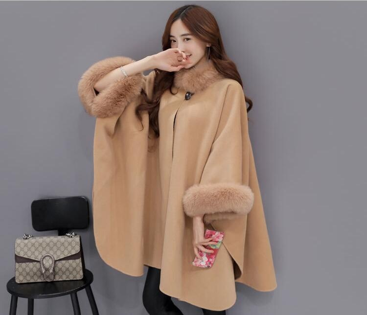 Fox Fur Collar Coat Womens Girls Gery Jacket Coat Hoody Trench Outwear Shawl