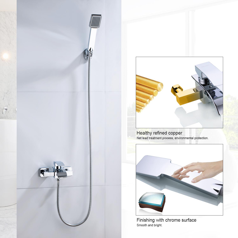 badewannenarmatur mit handbrause duschset wannenarmatur badewanne wannenbatterie ebay. Black Bedroom Furniture Sets. Home Design Ideas