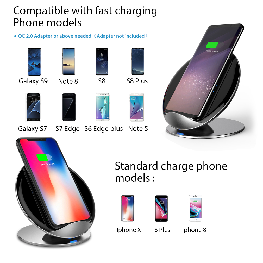 samsung s10 s9 note 9 8 qi wireless charger fast charge. Black Bedroom Furniture Sets. Home Design Ideas