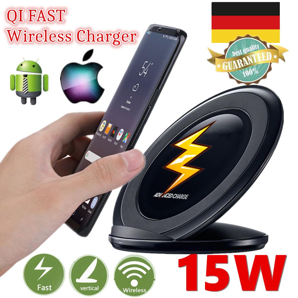 15w qi wireless charger induktive ladeger t schnell ladestation samsung s9 s10 ebay. Black Bedroom Furniture Sets. Home Design Ideas
