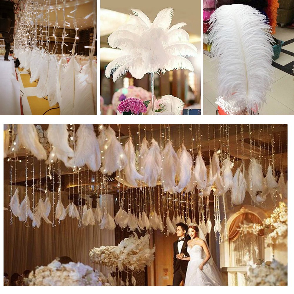 50//100pcs Glod Ostrich Feathers for Wedding Party Centerpieces Home Decorations