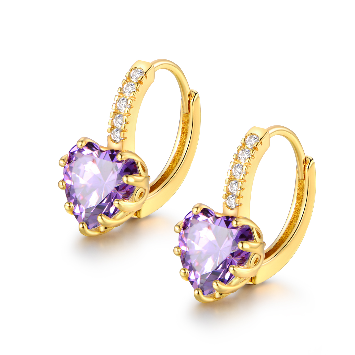Luxury Party Women Heart Shaped Amethyst 18k Gold Filled Cubic Zirconia Earrings