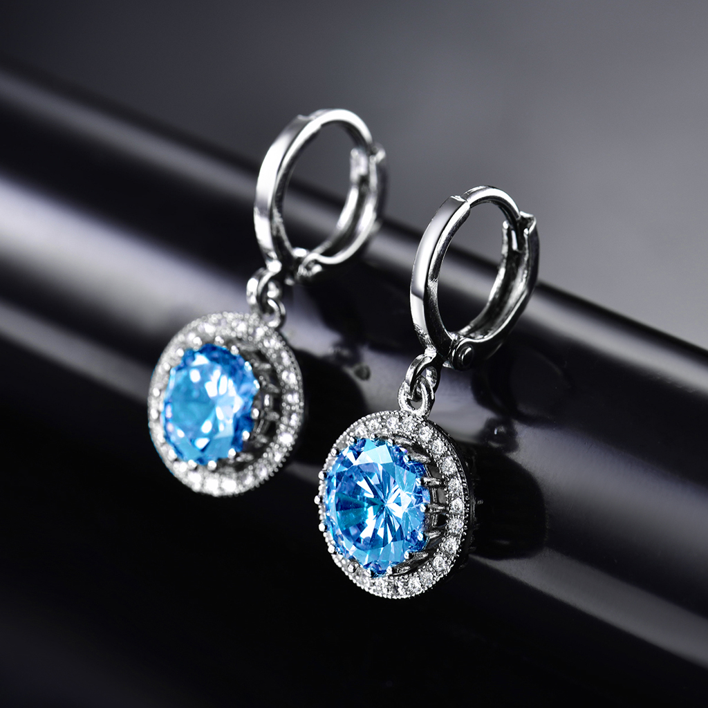 cubic round itm earrings stone blue womens silver stud cz navy sterling zirconia gemstone