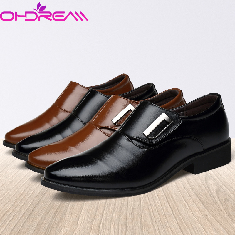 Men Casual Slip on Loafers Pointed Toe Leather Shoes Formal Dress Office Oxfords