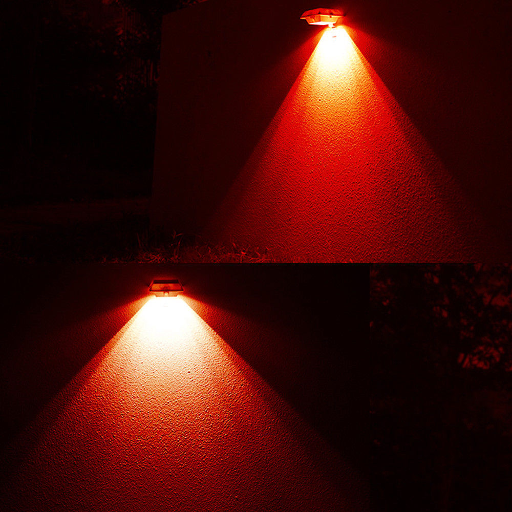 6 Led Solar Gutter Light Red Wall Outdoor Garden Security Path Fence Lamp