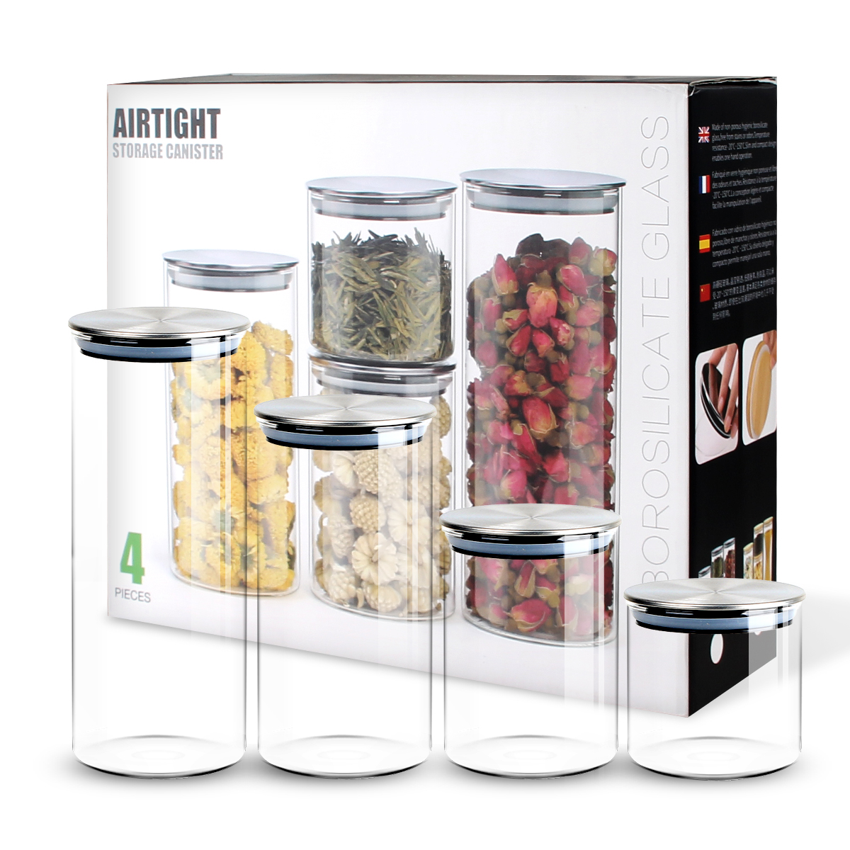 Details about Airtight 4 Pcs Food Storage Containers Kitchen Glass Cereal  Jars with Metal Lids