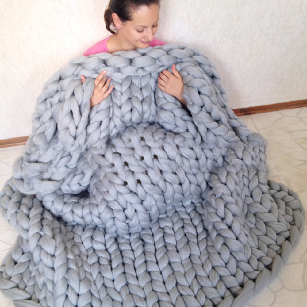 Hand Knitting Merino Wool Blanket : Gray handcrafted chunky knit blanket handmade merino wool