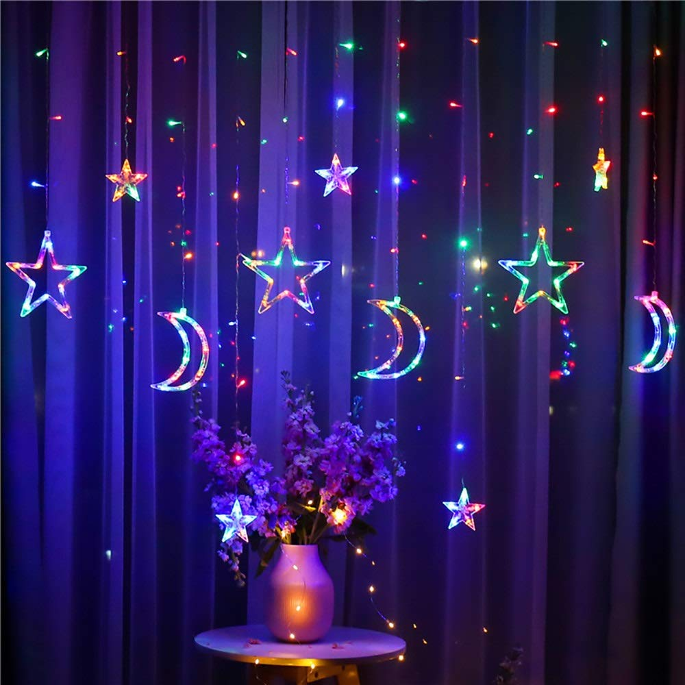 Details About Colorful Plug In Led Moon Star Curtain Lights Fairy String Window Display