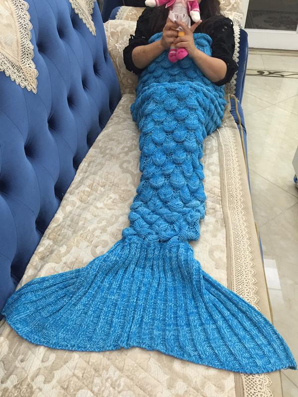 Hot Mermaid Tail Crocheted Cocoon Sofa Beach Quilt Rug