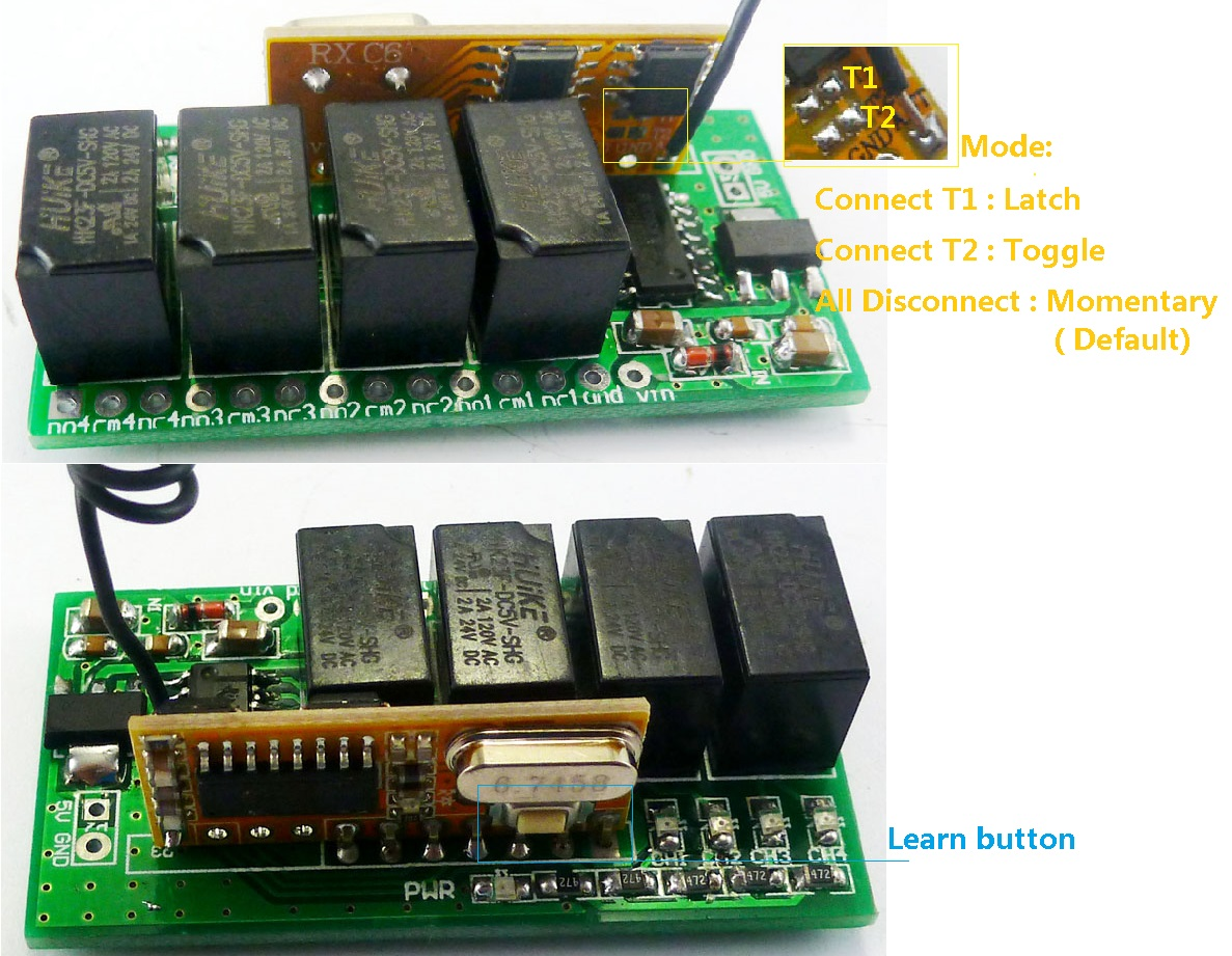 433m Arduino Remote Control Uart Pc Usb Rf Wireless Relay Controller The Equipment Has Two Modes Latched Pt2262 Mcu