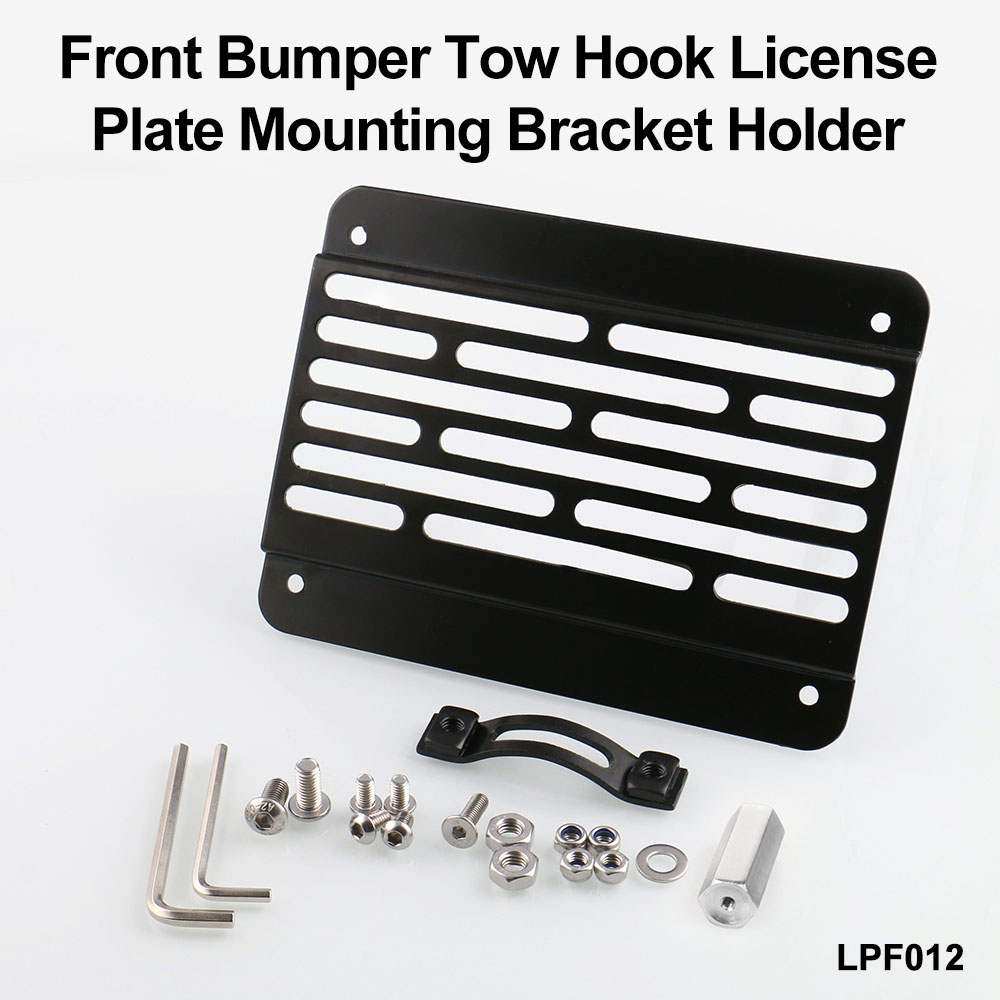 Front Bumper Tow Hook License Plate Mounting Bracket Holder For ...
