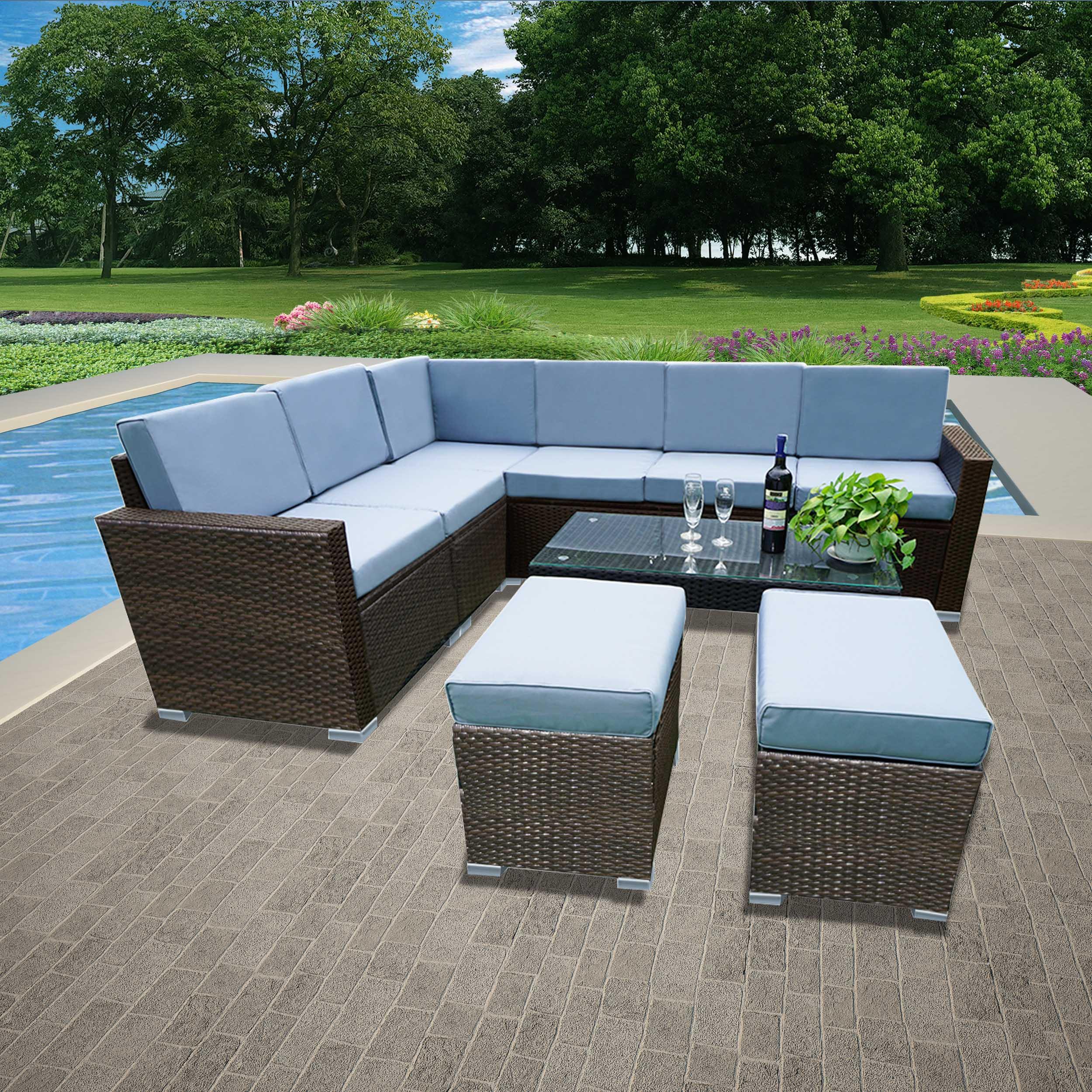 9 piece rattan garden furniture patio corner sofa set pe wicker steel outdoor uk