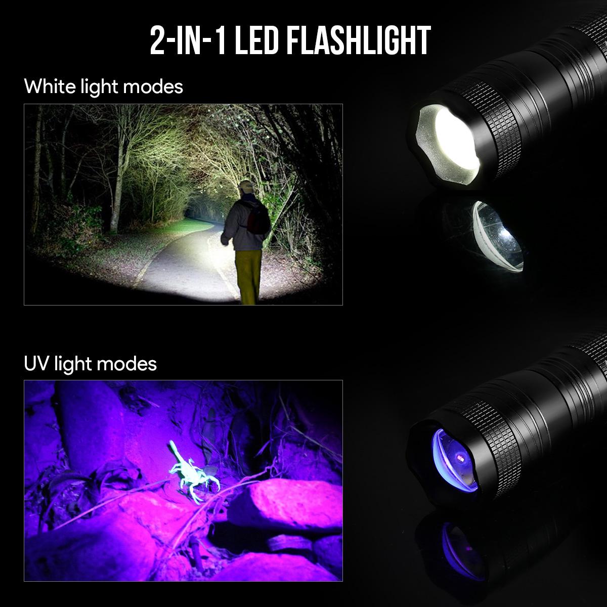 2er kaltwei led taschenlampe mit uv licht wasserfest. Black Bedroom Furniture Sets. Home Design Ideas