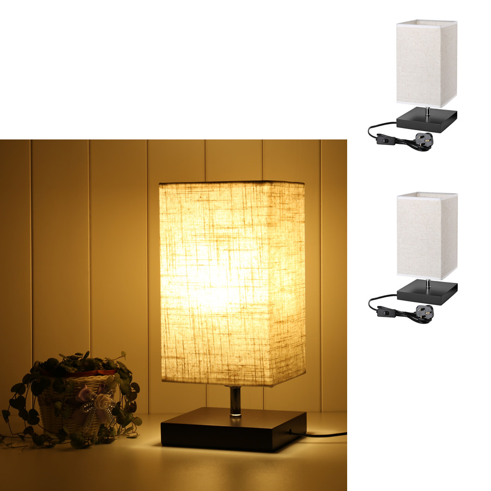 Le Bedside Table Lamp E27 Bulb Base Desk Square Night Light For Hotel Dorm