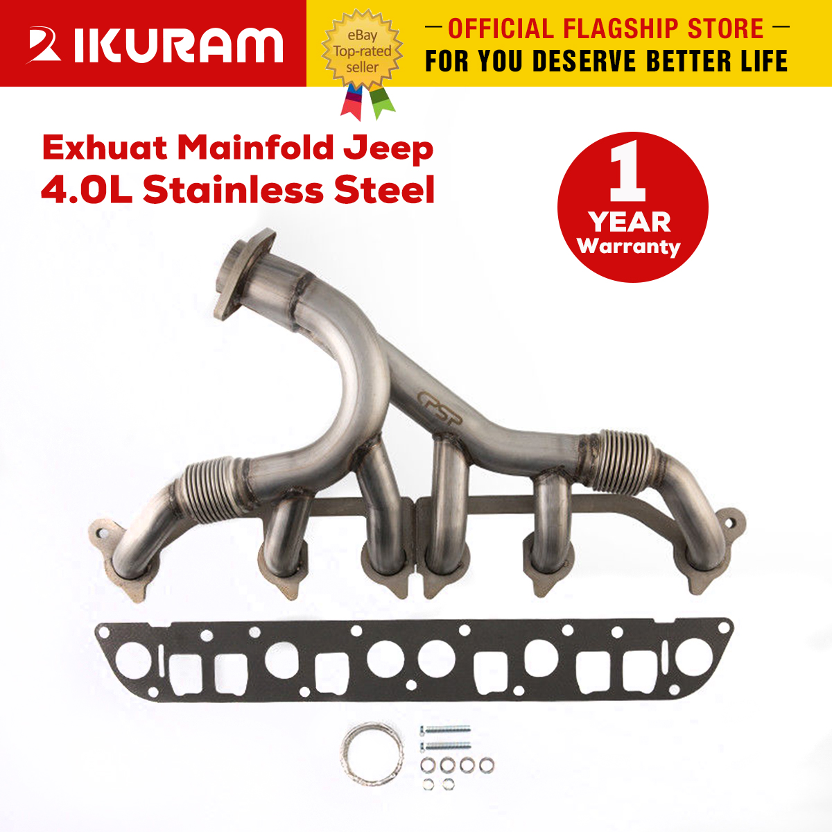 Exhaust Manifold /& Gasket Kit for Wrangler Grand Cherokee 4.0L Stainless Steel