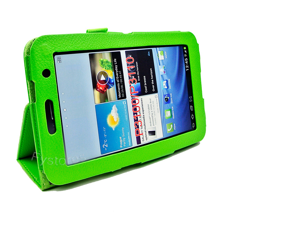 Tailored for Samsung Galaxy Tab 2 7-inch P3100 P3110 P6200, opens to all connections and controls.
