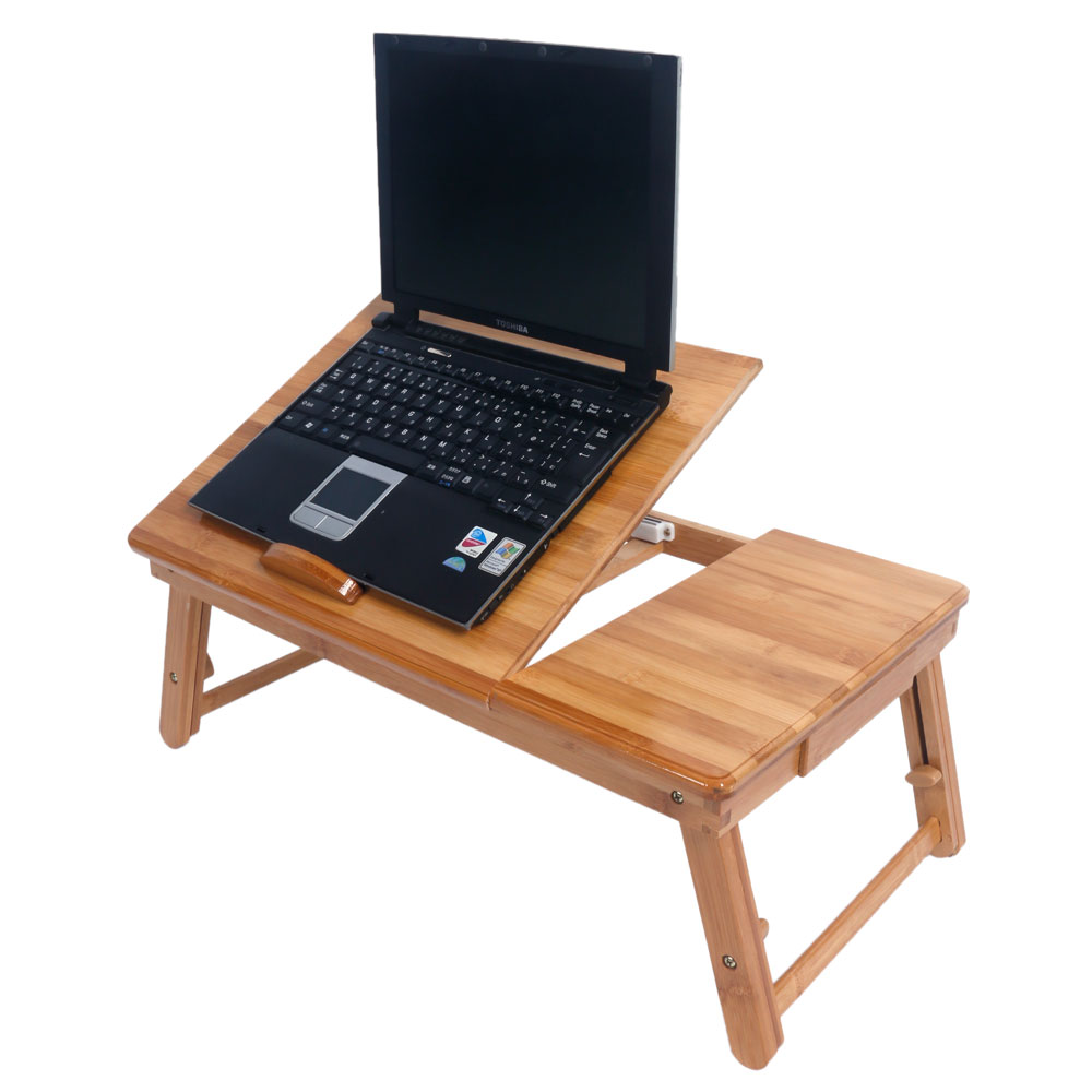 53cm Adjule Bamboo Computer Desk Portable Folding Laptop Table Tray Stand
