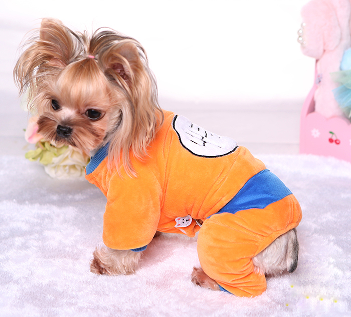 Details About Goku Costume Winter Pet Dog Pajamas Jumpsuit Small Yorkie Clothes Outfit Warm