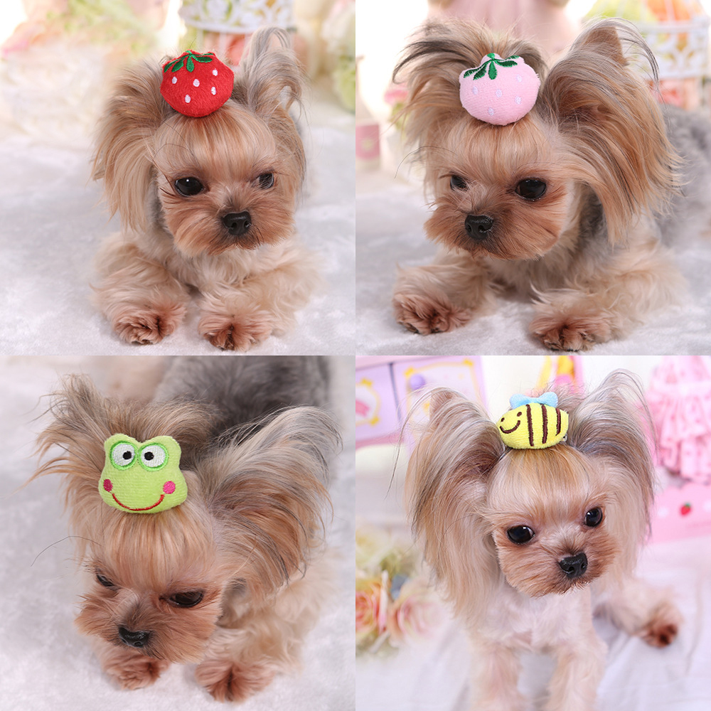Cute Small Pet Dog Hair Bows Clips Topknot Yorkie Holiday Gift Puppy