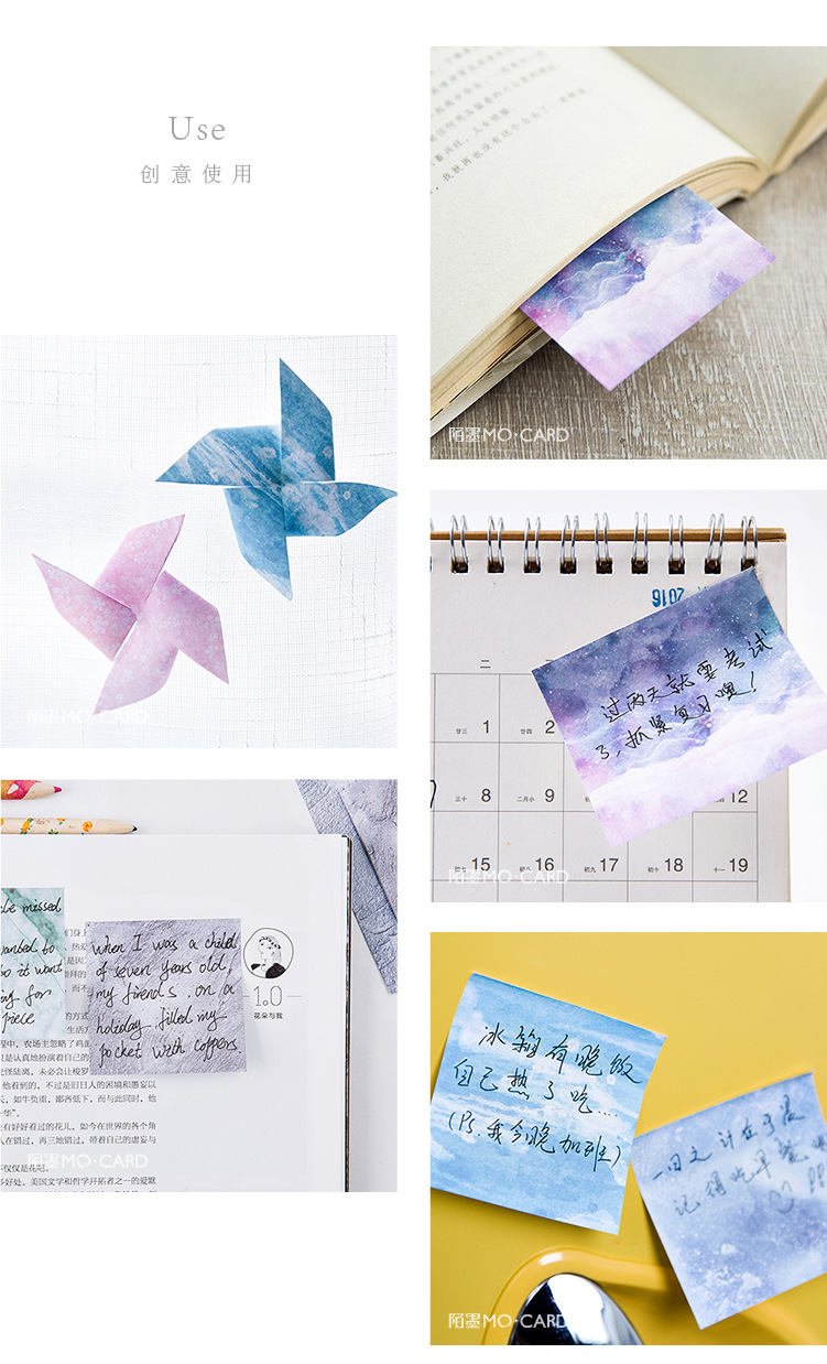 Creative natural sky color sticker paper sticky notes post in creative natural sky color sticker paper sticky notes post in notes memo flag jeuxipadfo Images