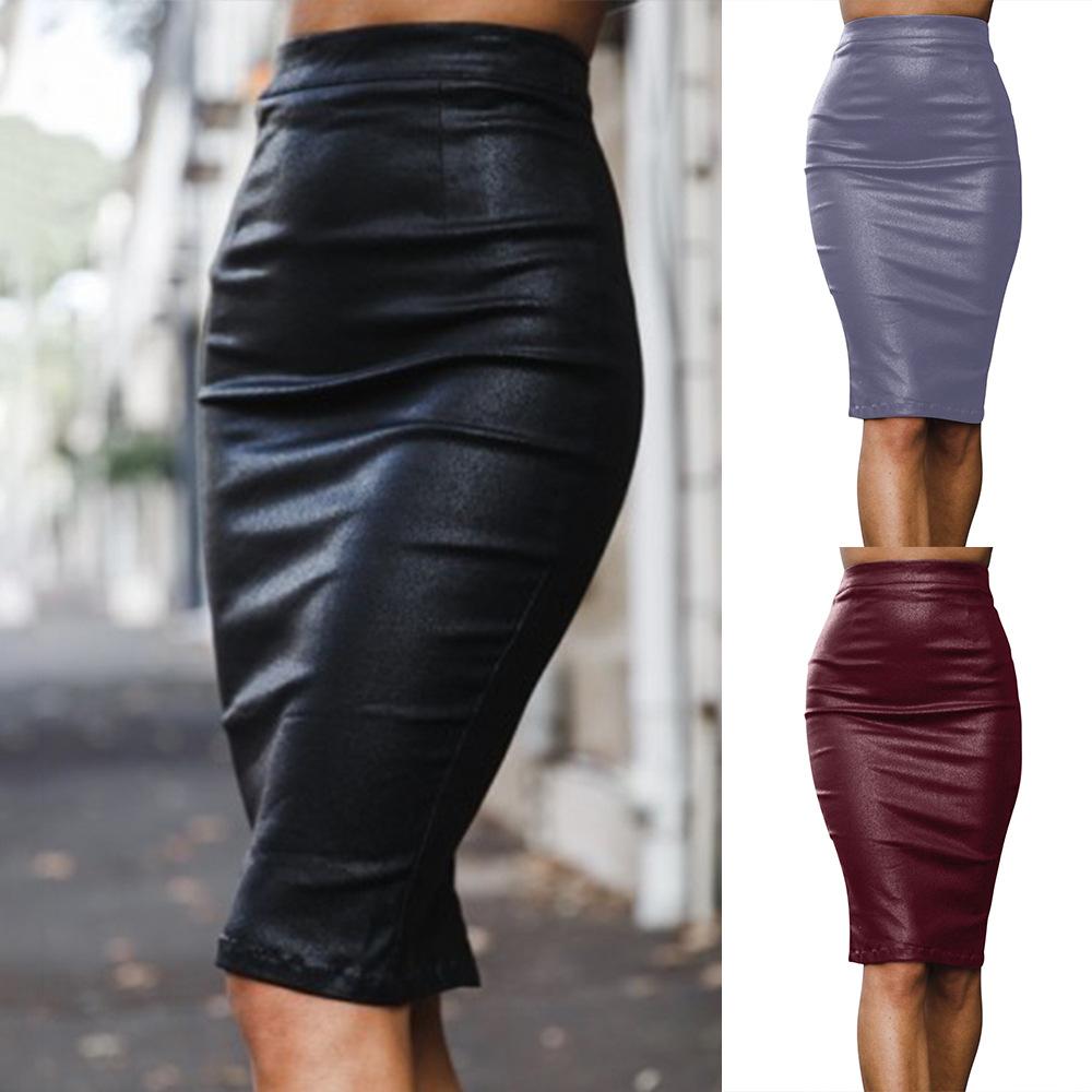cceb56e512ff Details about Fashion Skirt Faux Leather Pencil Skirt Dress Women Sexy High  Waist Zipper UK